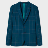 Paul Smith A Suit To Travel In - Men's Tailored-Fit Dark Green Loro Piana Wool Windowpane Check Blazer