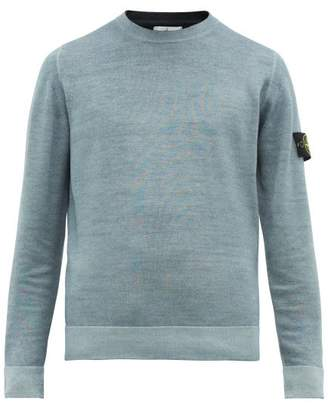 Stone Island Double Knitted Logo Patch Wool Sweater - Mens - Light Blue