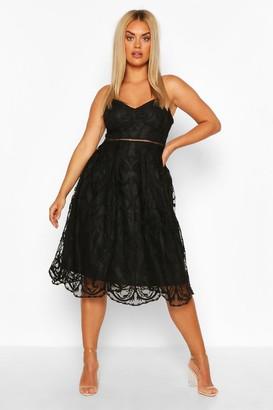 boohoo Plus Crochet Lace Midi Skater Dress