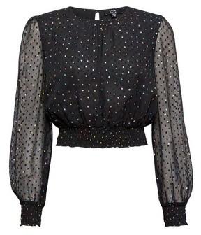 Dorothy Perkins Womens **Lola Skye Black Chiffon Polka Dot Print Top, Black