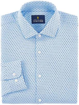 Stafford Mens Knit Spread Collar Long Sleeve Stretch Moisture Wicking Dress Shirt
