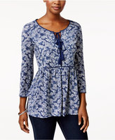 Style&Co. Style & Co Printed Peasant Top, Only at Macy's