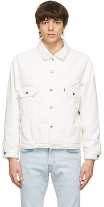 Levis Made and Crafted White Denim Sherpa Oversized Type II Jacket