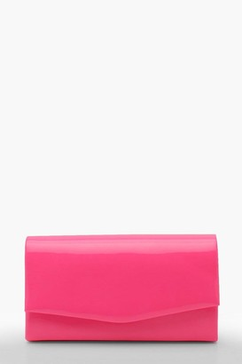 boohoo Structured Neon Clutch Bag & Chain