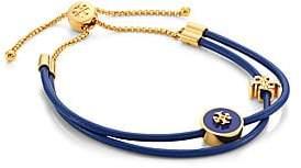 Tory Burch Raised Logo Enamel, Leather & Chain Slider Bracelet