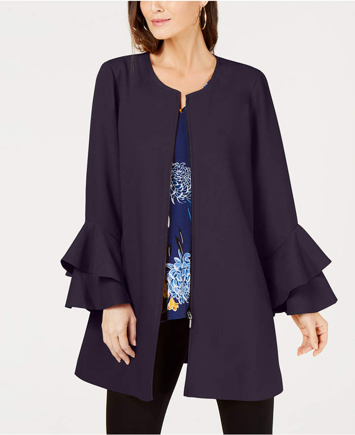 Petite Flared-Sleeve Collarless Jacket