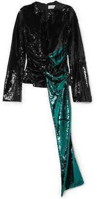 16Arlington Hemingford Draped Two-tone Sequined Crepe Top