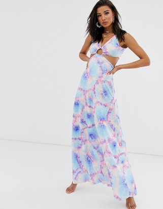 Asos Design DESIGN neon tie dye slinky jersey beach maxi dress with cutout waist-Multi