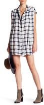 En Creme Cap Sleeve Plaid Shirt Dress