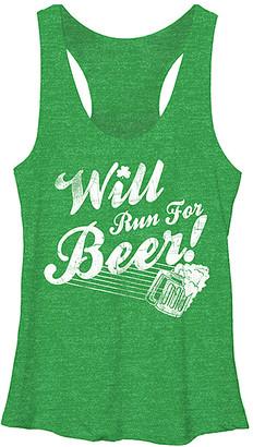 Chin Up Apparel Women's Tank Tops Envy - Envy Green 'Will Run for Beer' Raw-Edge Racerback Tank - Women