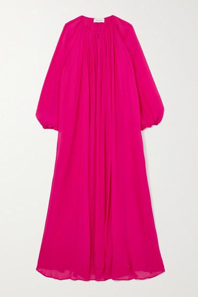 Matteau + Net Sustain Blouson Silk-crepon Maxi Dress - Fuchsia