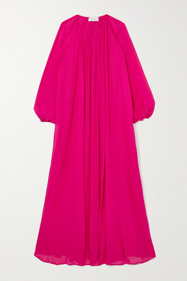 Matteau + Net Sustain Blouson Silk-crepon Maxi Dress - Fuchsia