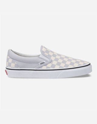 Vans Checkerboard Gray Dawn & True White Womens Slip-On Shoes