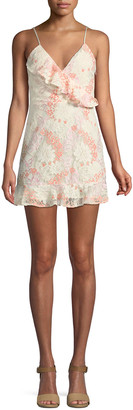 Lovers + Friends Lovers And Friends Chauncey Floral Lace Frill Mini Dress