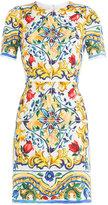 Dolce & Gabbana Printed Silk Sheath Dress