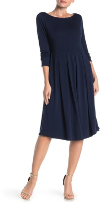 WEST KEI Boatneck Long Sleeve Midi Dress