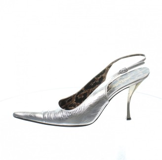 Dolce & Gabbana Silver Leather Heels
