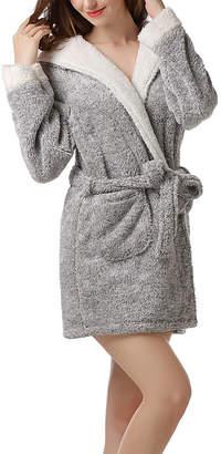 Richie House Women's Bath Robes Grey - Gray Ear-Accent Hooded Robe - Women