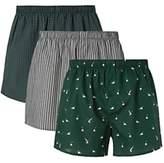 John Lewis & Partners Mallard Print Cotton Boxers, Pack of 3, Green/Multi