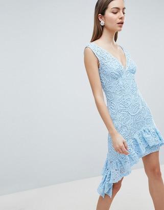 Asos Design ASOS Corded Lace Plunge Neck Asymmetric Mini Dress