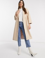 Y.A.S oversized coat in tailored fabric in tan
