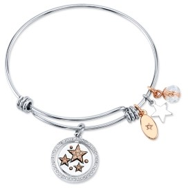 """Unwritten Live Your Dream"""" Stars Bangle Bracelet in Stainless Steel & Rose Gold-Tone"""