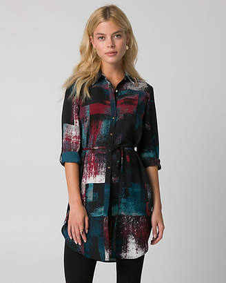 Le Château Abstract Print Crepe de Chine Slit Tunic