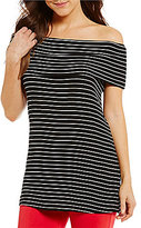 Gibson & Latimer Striped Off-The-Shoulder Knit Top