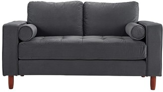 Overstock Small Space Loveseat Sofa with High Density Removable Cushions, Microfiber Velvet