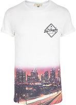River Island MensWhite ombre LA print t-shirt