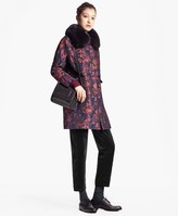 Brooks Brothers Floral Jacquard Coat with Removable Fox Fur Collar