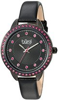 Burgi Women's Genuine Swarovski Crystal Accented Black Dial and Bezel with Black Genuine Leather Strap Watch BUR161BK