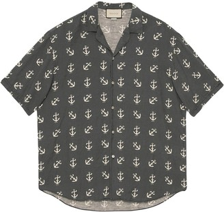 Gucci Navy And Ivory Anchor Bowling Button-down Shirt