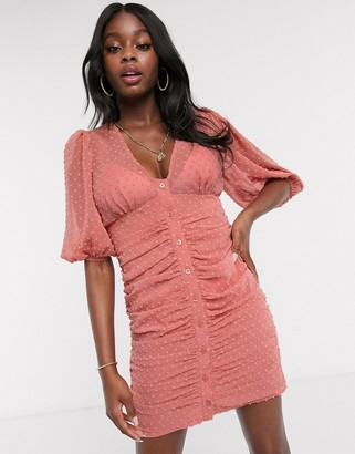 ASOS DESIGN button through dobby mini dress with puff sleeve in terracotta