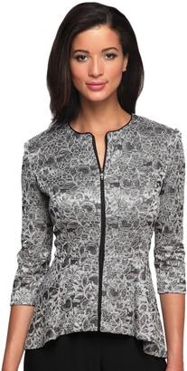 Alex Evenings Women's Printed Zip Jacket with Peplum Hem