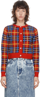 Miu Miu Red Tartan Check Cardigan