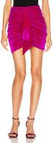Alexandre Vauthier for FWRD Ruched Velvet Mini Skirt in Fuchsia   FWRD