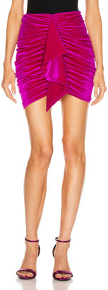Alexandre Vauthier for FWRD Ruched Velvet Mini Skirt in Fuchsia | FWRD