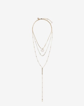 Express Layered Crystal Charm Bar Necklace