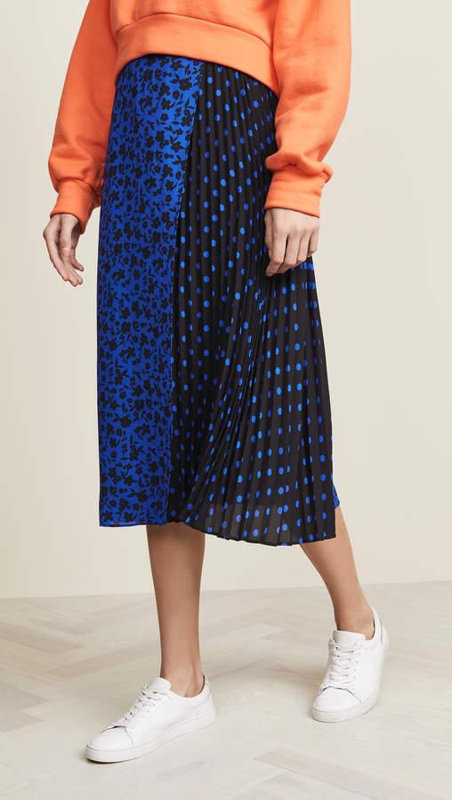 Alice + Olivia Lilia Asymmetrical Pleated Midi Skirt