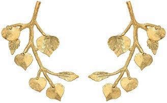 Kenneth Jay Lane Branch with Leaf Pierced Earrings (Satin Gold) Earring