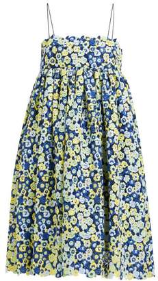 Cecilie Bahnsen - Matilda Floral Guipure-lace Cotton-blend Dress - Womens - Blue Multi