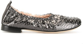 Rodo High Throat Python Effect Ballet Pumps