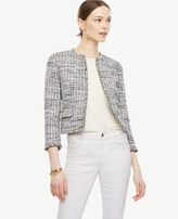 Ann Taylor Grid Fringe Tweed Open Jacket