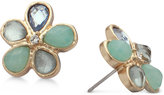 lonna & lilly Gold-Tone Blue Stone Flower Stud Earrings