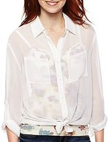 JCPenney Decree® Button-Front Roll-Tab Shirt