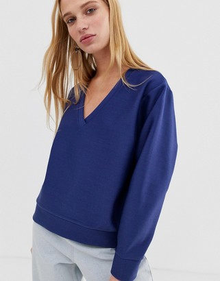 Asos v-neck sweatshirt in scuba-Purple