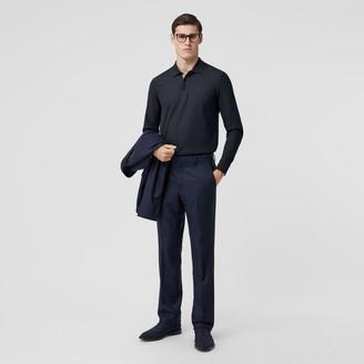 Burberry Long-sleeve Monogram Motif Cotton Pique Polo Shirt