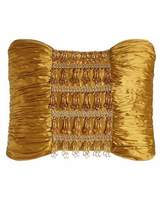 """Austin Horn Classics Royale Gold Silk Pillow with Beads, 13"""" x 18"""""""