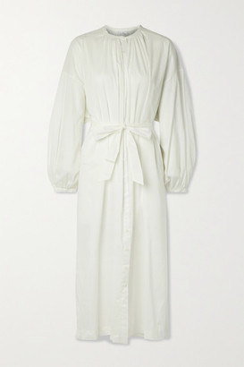 POUR LES FEMMES Mona Belted Cotton-voile Nightdress - White